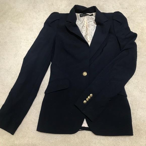 Zara women navy blazer with gold buttons XS